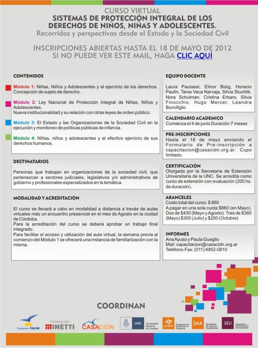 Curso virtual: Sistemas de Protección Integral de Los Derechos de Niños, Niñas y Adolescentes